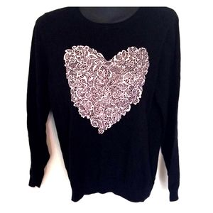 Elle Sweaters - Black and light pink heart sweater size L